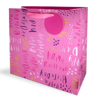 Gift Bag Large Pluto Birthday Pink