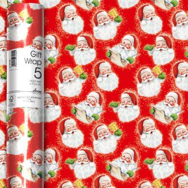 5M x 70CM (Jumbo) Roll Wrap Vintage Santa