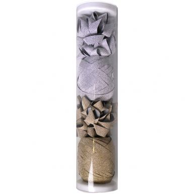 Bow & Curling Tube Sparkle Gold & Silver