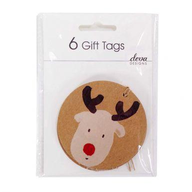 6 Tag Pack Cute Reindeer Craft