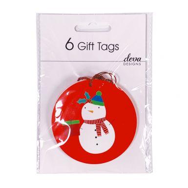 6 Tag Pack Cute Snowman