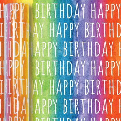 3M x 70CM Roll Wrap Rainbow Birthday