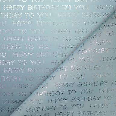 Gift Wrap Dotty Happy Birthday Blue Foil