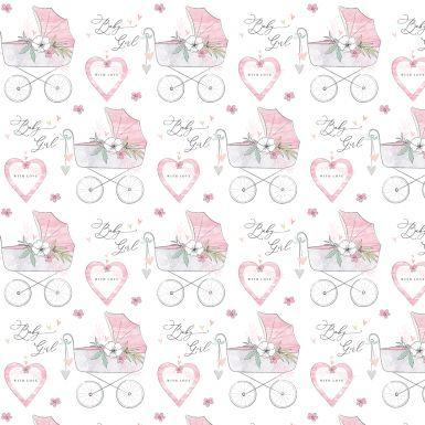 Gift Wrap Katie Phythian Pram Pink