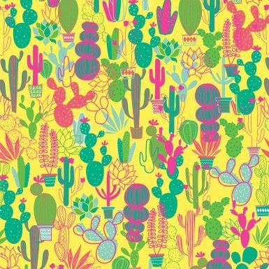 Gift Wrap Neon Cacti