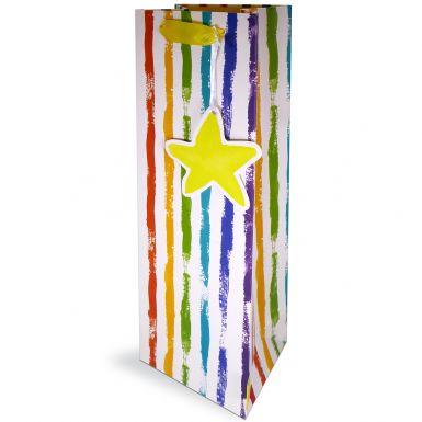 Gift Bag Bottle Rainbow Stripe