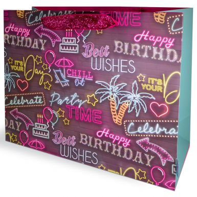 Gift Bags Carrier Neon Lights Birthday