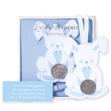 Lucky Sixpence Baby Bunny Blue