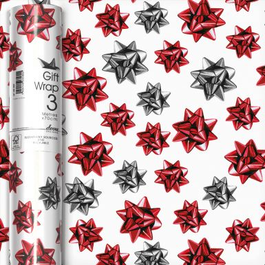 3M x 70CM Roll Wrap Painted Bows