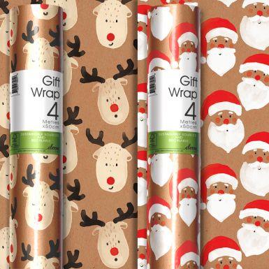 4M x 50CM (Handy) Roll Wrap Santa and Reindeer