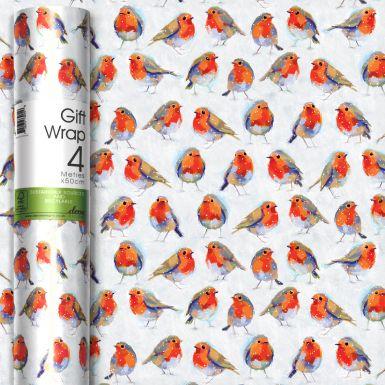 4M x 50CM (Handy) Roll Wrap Winter Robins