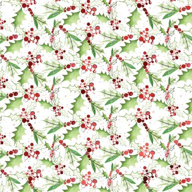 Gift Wrap Jolly Holly Red Foil