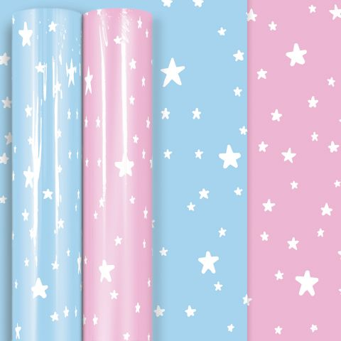 3M x 70CM Roll Wrap Baby Stars Assorted