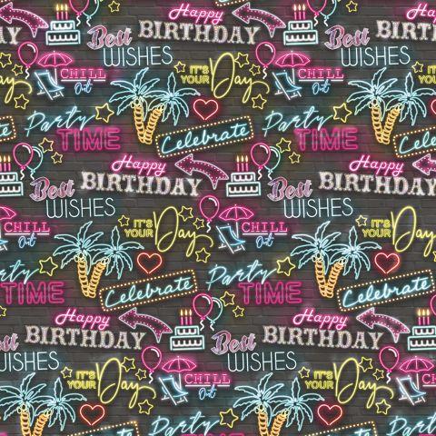 Gift Wrap Birthday Neon Lights